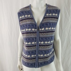 Woolrich Zip Vest Lambswool Fair Isle Sheep Blue